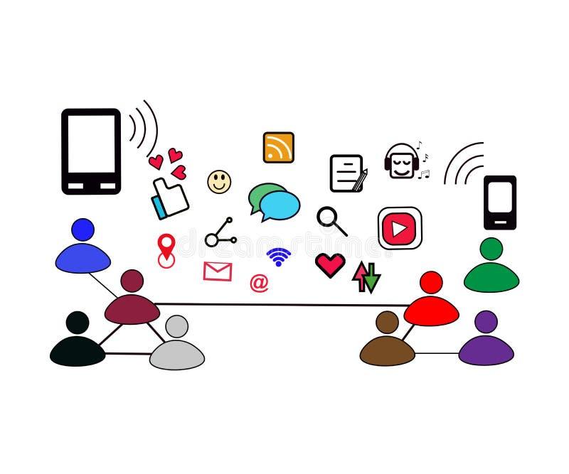 Sociaal voorzien van een netwerk op mensen vandaag met veel soort pictogram royalty-vrije illustratie