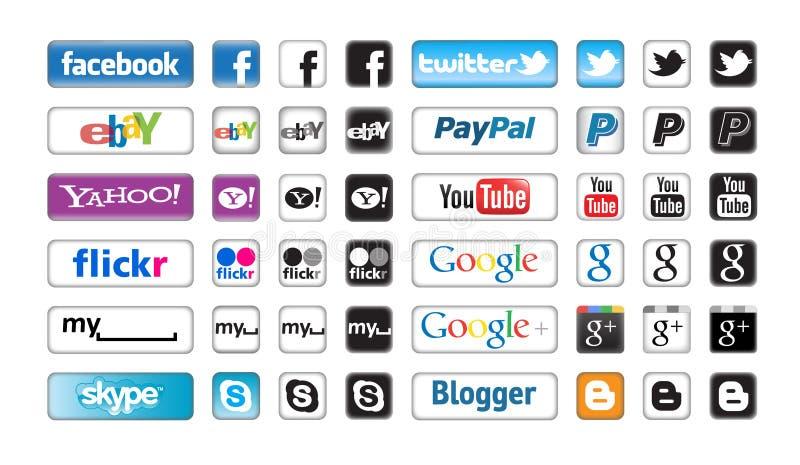 social сети кнопок apps иллюстрация штока