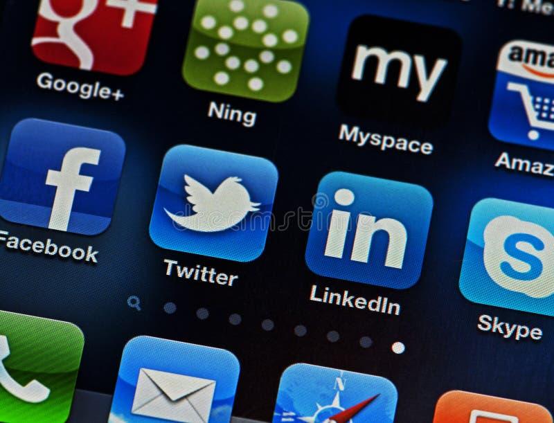 social сети iphone стоковое изображение