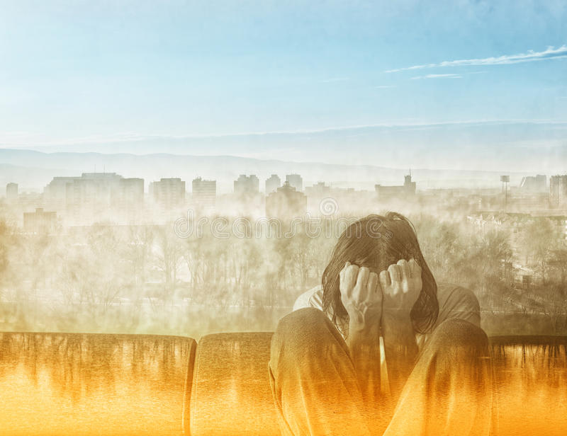 Social Alienation Concept. Depressed Man covering face and crying in despair royalty free stock photography