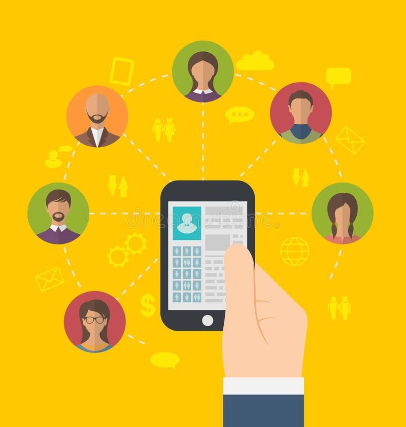 Social anslutning med profilsidan på telefon- och användaresymboler stock illustrationer