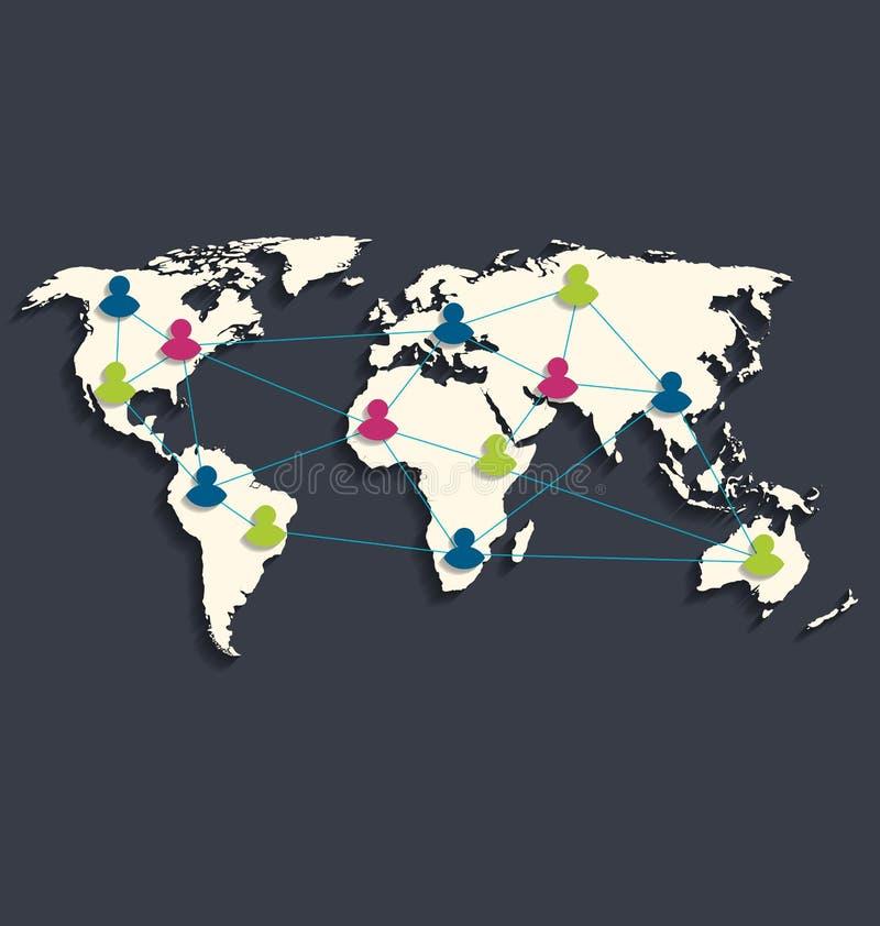 Social anslutning på världskartan med folksymboler, lägenhetstildes stock illustrationer