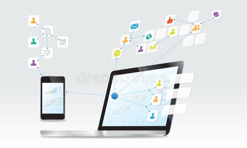 Download Social anslutningsbakgrund stock illustrationer. Illustration av teknologi - 37348525