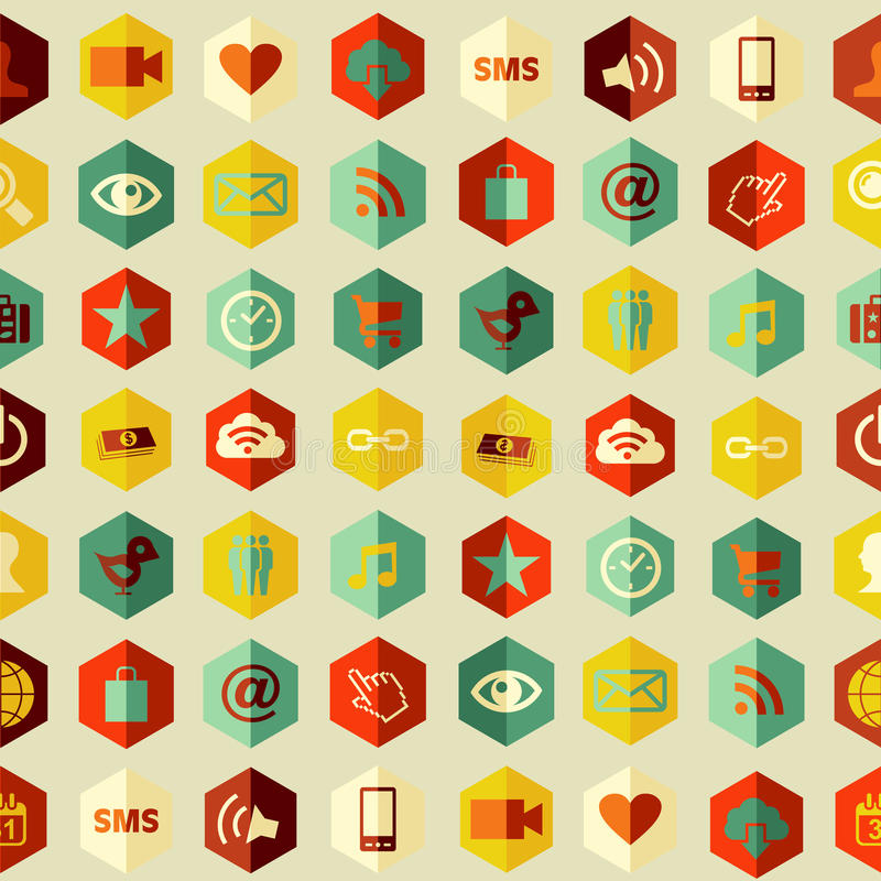 Social app icons set pattern royalty free stock images