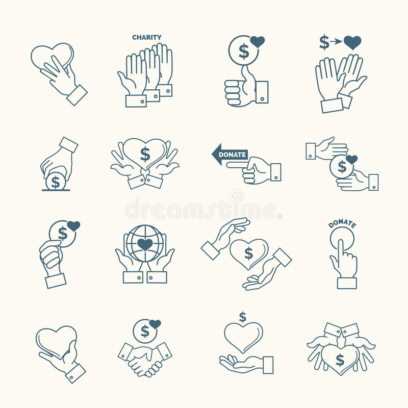 download social assistance services line hands signs linear fundraising support and care icons stock
