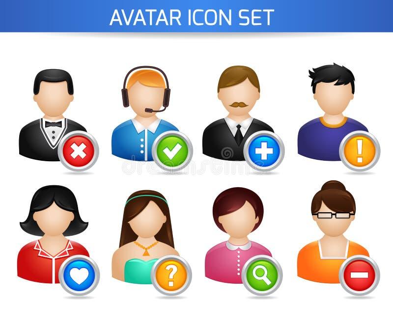 Social Avatarsymbolsuppsättning vektor illustrationer