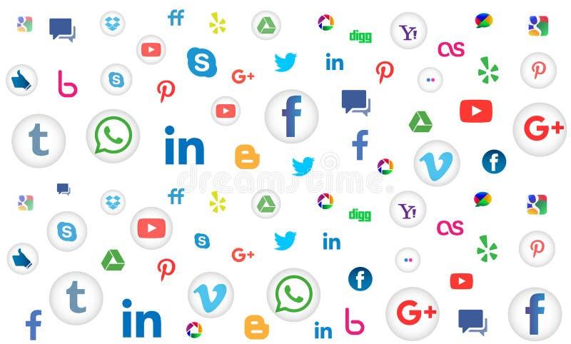 Social bakgrund för massmediasymbolsmodell för tapet på vit bakgrund stock illustrationer
