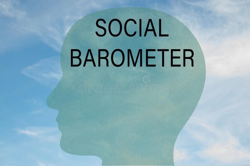 SOCIAL BAROMETER concept. Render illustration of SOCIAL BAROMETER title on head silhouette, with cloudy sky as a background stock illustration