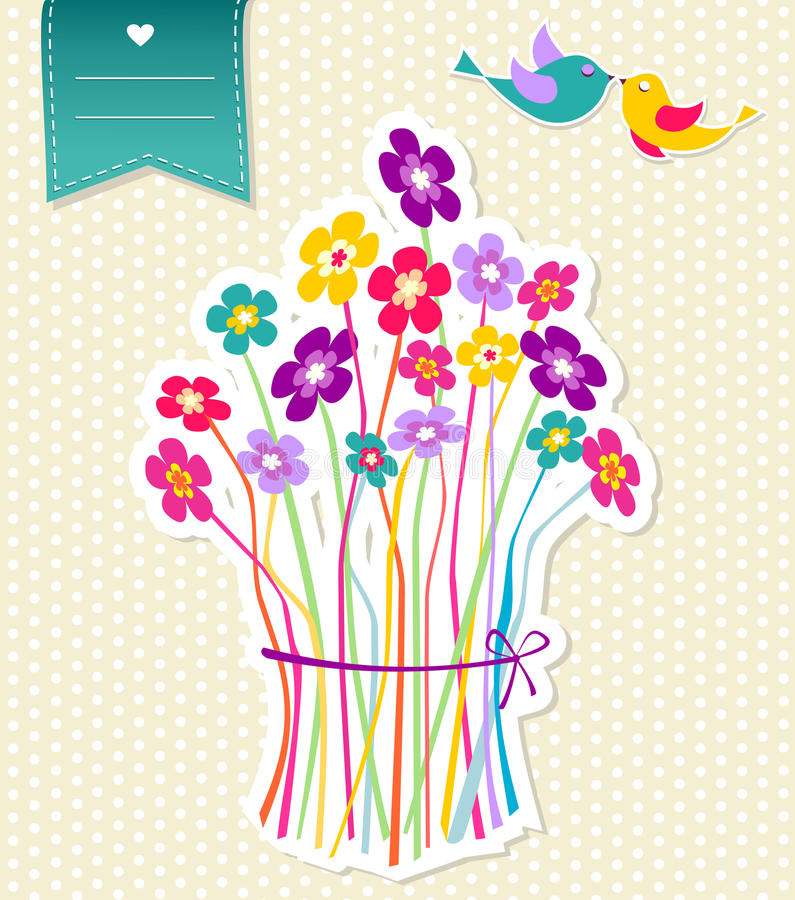 Social birds and flowers template background royalty free illustration