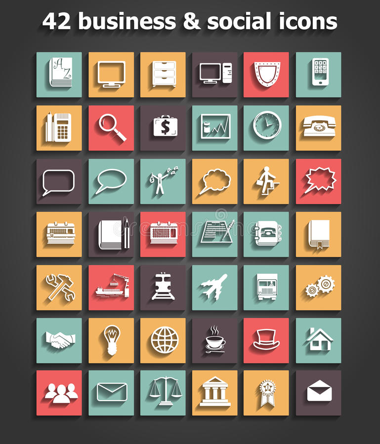 Download Social And Business Icons Set Vector Stock Vector - Illustration of medal, book: 35750303