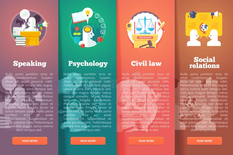 Social, civil and public relations. Civil law. Justice. Speaking skill of oratory. Education and science vertical layout stock illustration