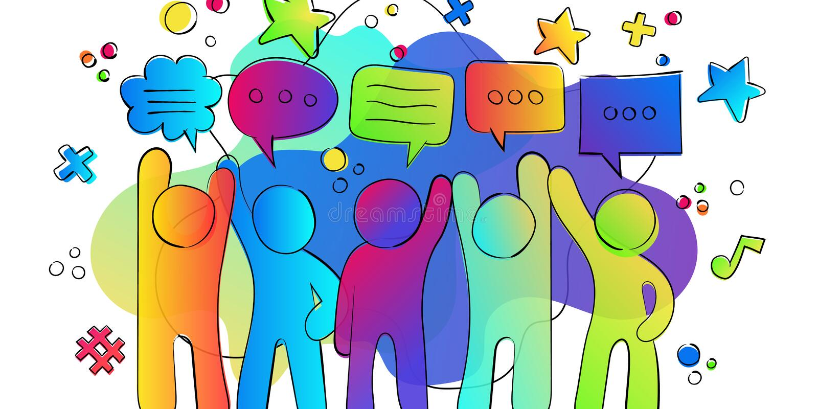 Social friend group colorful gradient chat bubbles royalty free illustration