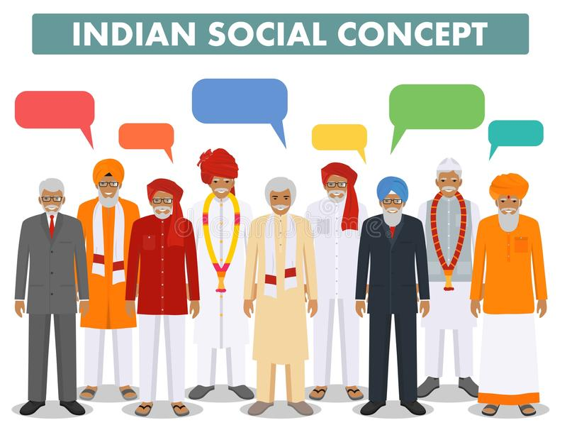 Social concept. Group indian senior people and speech bubbles standing together in different traditional national vector illustration