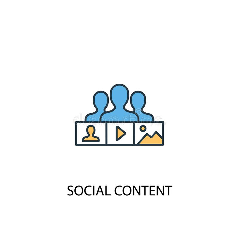 Social content concept 2 colored line. Icon. Simple yellow and blue element illustration. social royalty free illustration