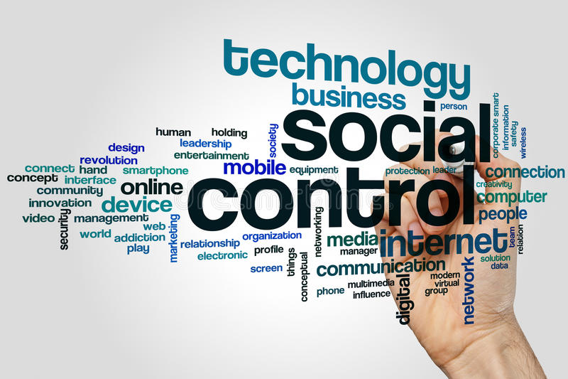 Social control word cloud stock photo