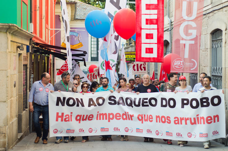 Social cuts. PONTEVEDRA - JULY 19: Detail of the manifestation of all unions and associations to protest the social cuts, of the Conservative government, July 19 stock images
