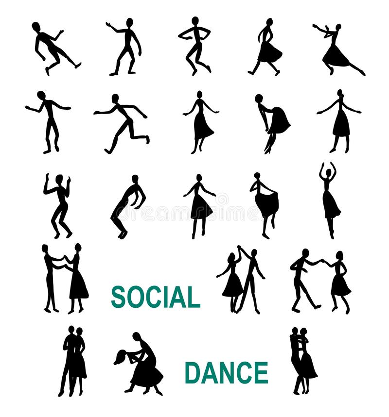 Social dancing, abstract silhouettes. Of dancers royalty free illustration