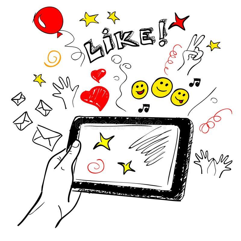 Social del bosquejo de la pantalla táctil de la mano ilustración del vector