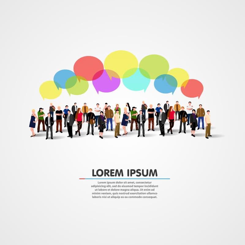 Social del negocio y concepto de la comunicación stock de ilustración