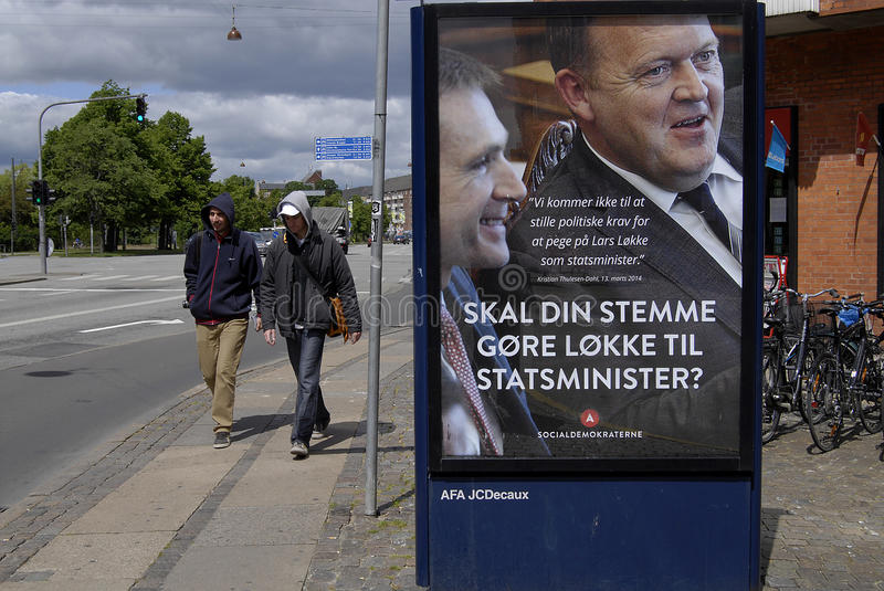 SOCIAL DEMOCRAT ELECTIONS COMPAIGN. COPENHAGEN/DENMARK. 15 JUNE 2015 _Social democrat elections compaign and attached on Liberal leader former prime minister stock photo