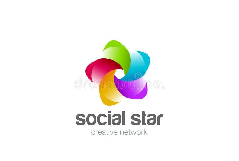 Social desi för logo för stjärna för band för nätverksoändlighetsögla vektor illustrationer