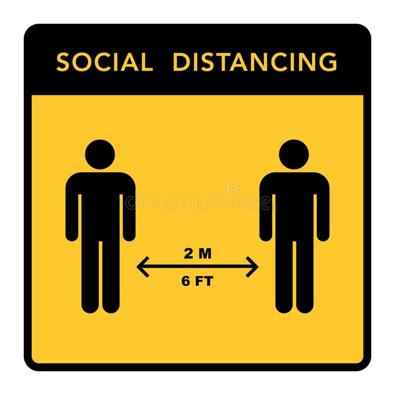 Social distancing banner. Keep the 2 meter distance. Coronovirus epidemic protective. Vector illustration stock illustration