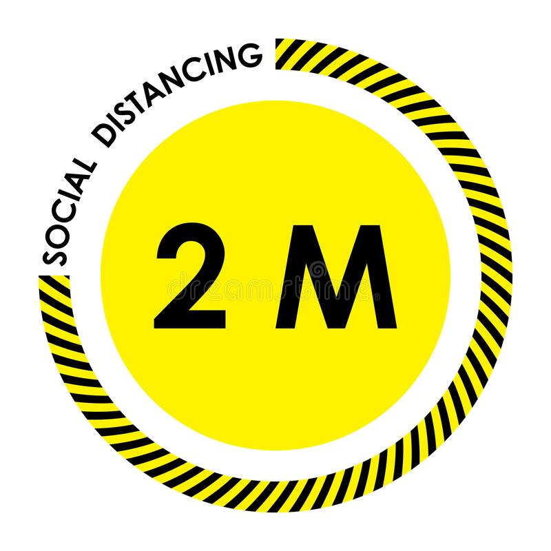 Social distancing. black and yellow warning sign. Keep 2 meter distance. Coronovirus epidemic protective. Vector illustration. S royalty free illustration