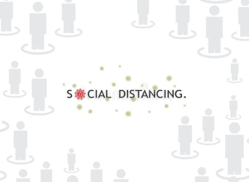 'Social Distancing'Corona Awareness Wiadomość tekstowa Ilustracja graficzna Tło tapety w clipart wektorowym ilustracji