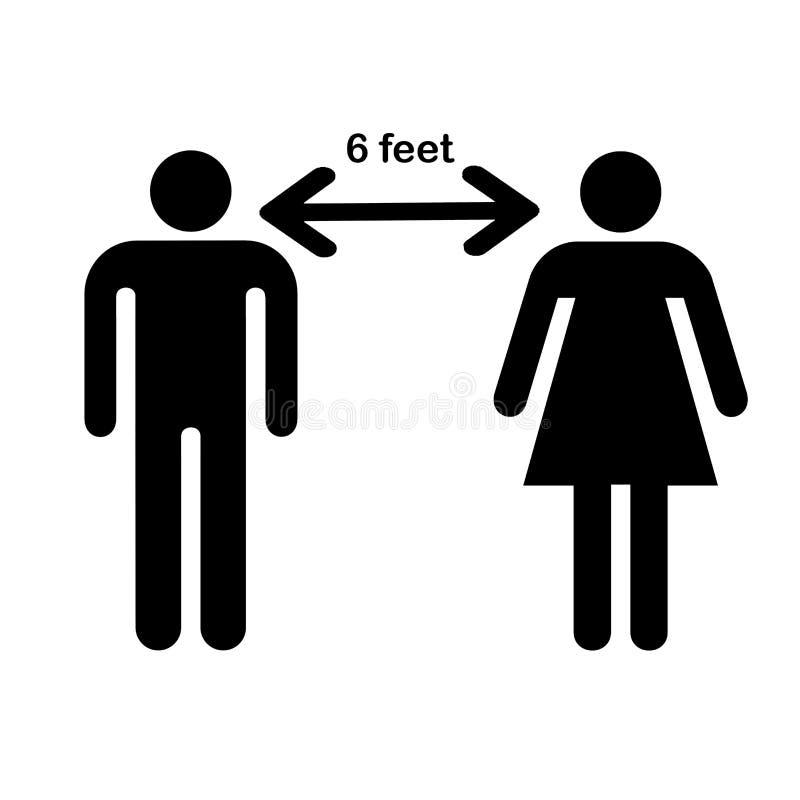 Social Distancing Icon Vector Illustration.. Maintain 6