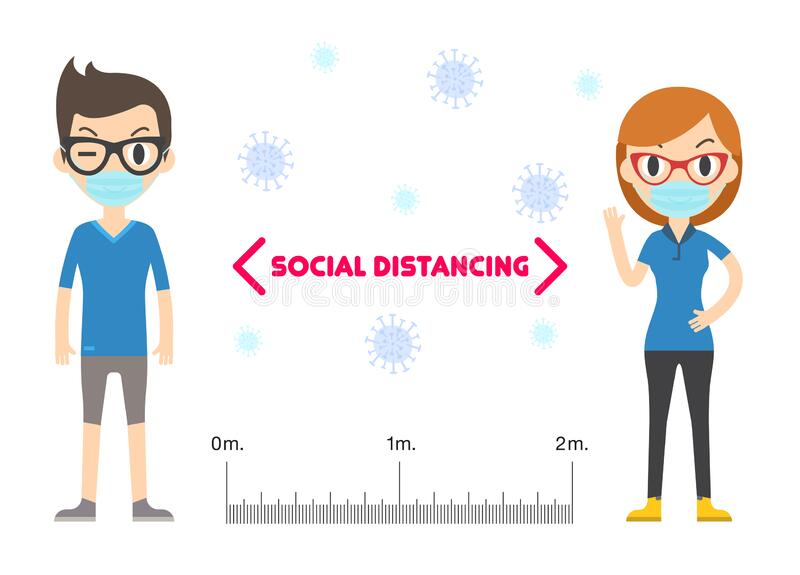 Social Distancing, Keep Distance In Public People Society To Protect From  COVID-19. Stock Vector - Illustration of infect, contamination: 180029737