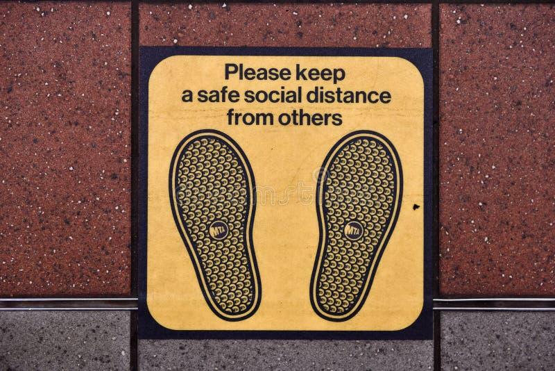 Social Distancing - NYC Subway stock photo