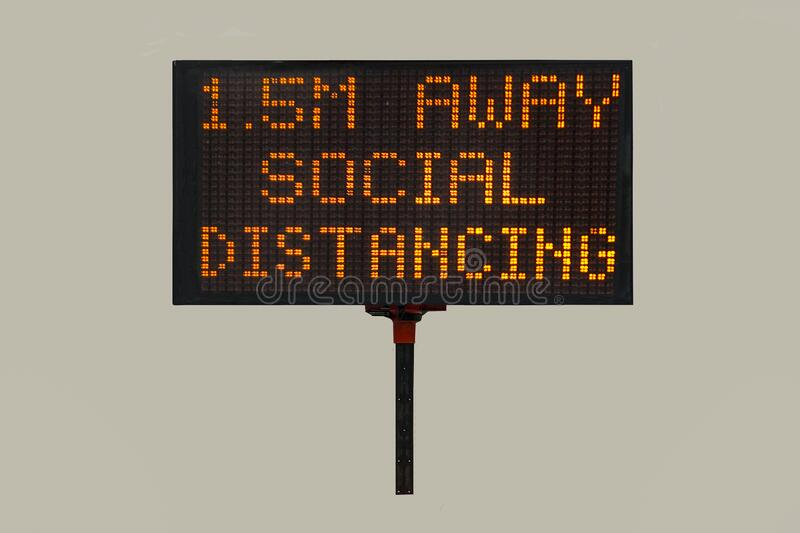 COVID-19 Warning sign for Social Distancing royalty free stock image