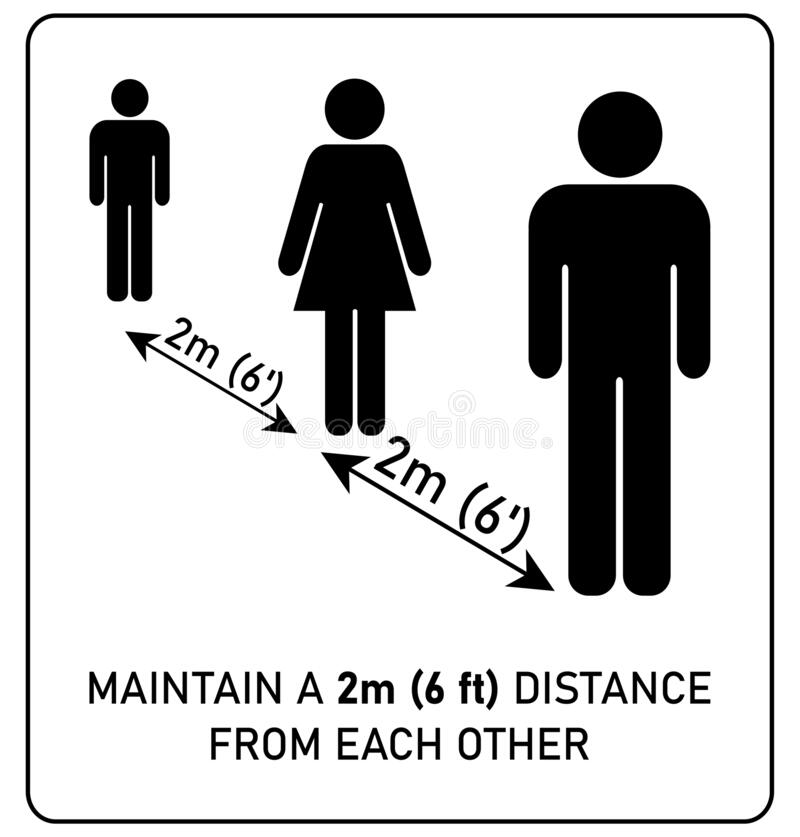 Social distancing sign. Simple man and woman silhouettes standing in queue 2m 6 feet apart. Coronavirus covid-19 outbreak. Prevention info stock illustration