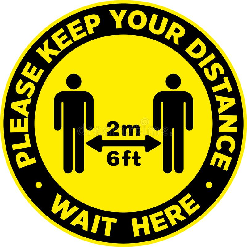 Social Distancing Signage or Floor Sticker. Social Distancing Signage or Floor Sticker for help reduce the risk of catching coronavirus Covid-19. Vector sign vector illustration