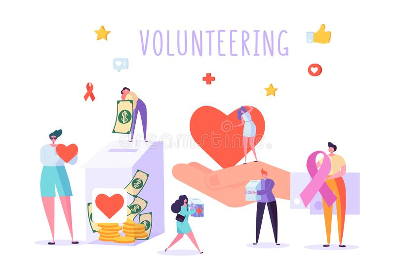 Social Donate Volunteer Character Banner. People Money Charity Work Heart Symbol Poster. Human Care Aids Ribbon stock illustration