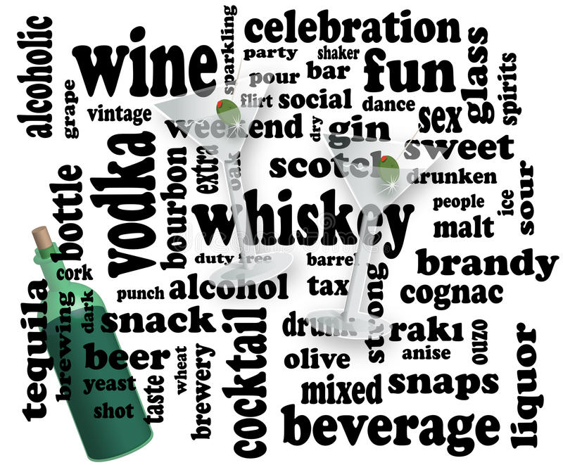 Social drinking word cloud stock photo