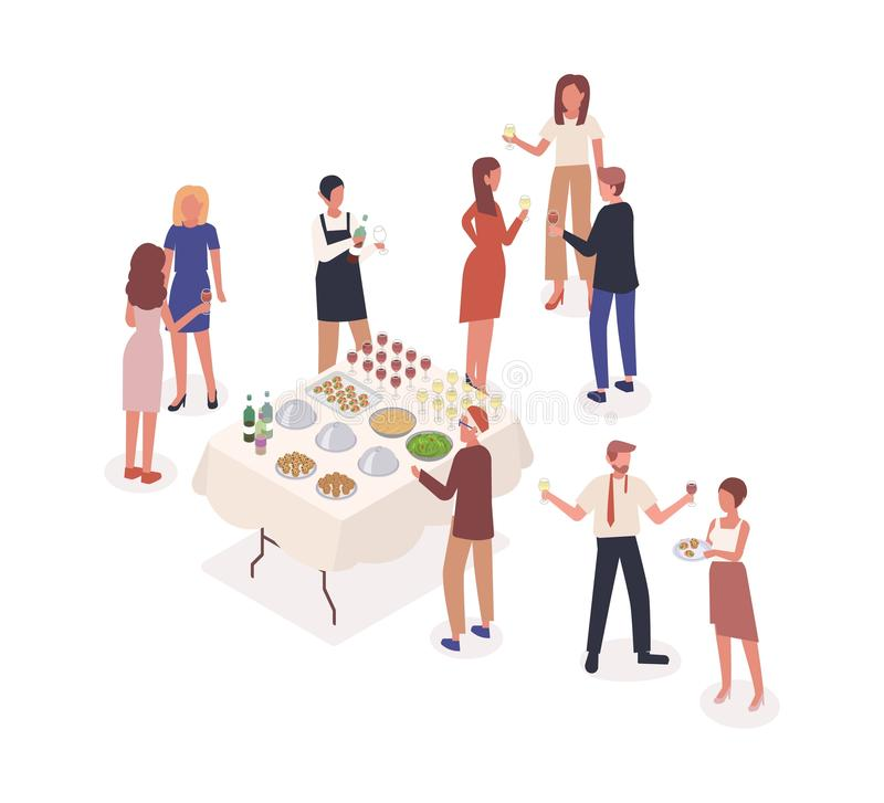 Social event, stand-up meal isometric vector illustration. Corporate party, soiree, celebration. Male waiter and party. Visitors cartoon characters. Banquet royalty free illustration