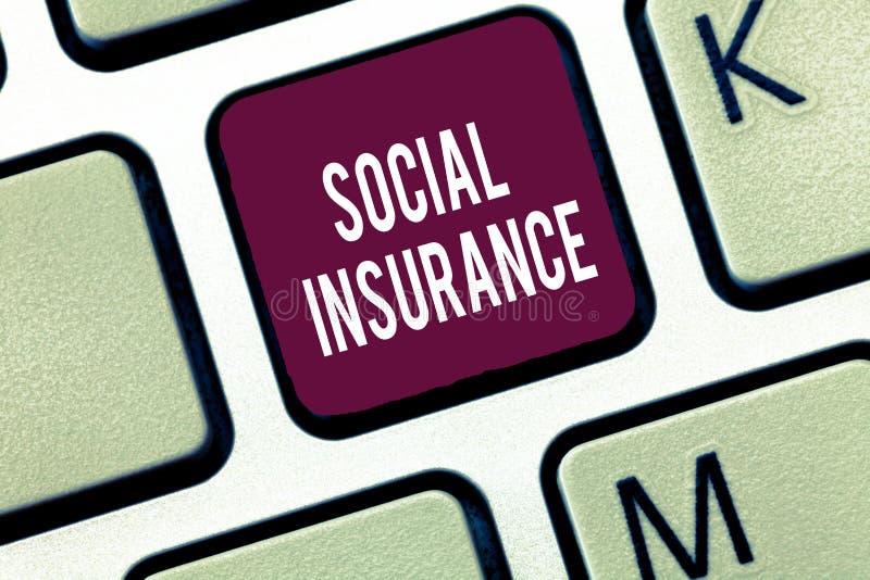 Social försäkring för ordhandstiltext Affärsidé för skydd av individen mot ekonomiska faror royaltyfri foto