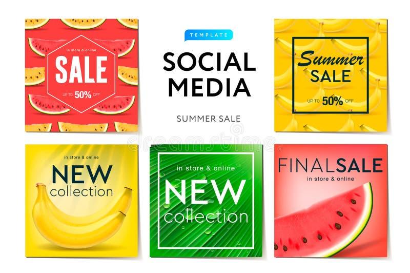 Social försäljning för massmediamallsommar, bruk för märken och blogger, modernt befordranrengöringsdukbaner för sociala massmedi stock illustrationer