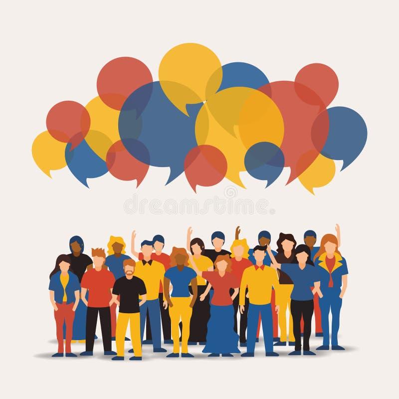 Social folkgrupp med färgrika pratstundbubblor stock illustrationer
