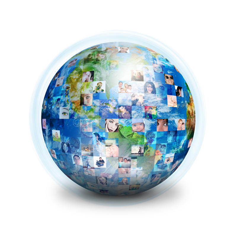 Social Friends Network Globe. A globe is isolated on a white background with many different people's faces. Can represent a technology social network of friends