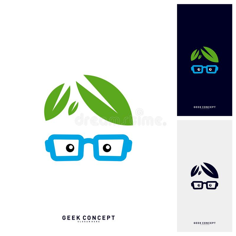Social Geek with Leaf Logo Concept Vector. Nature Geek Logo Template - Vector stock illustration