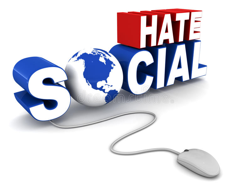 Social Hate. Words with mouse and globe, concept of the other side of social sharing stock illustration