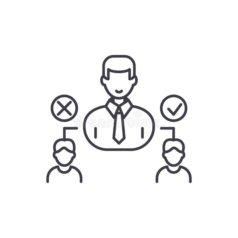Social hierarkilinje symbolsbegrepp Linjär illustration för social hierarkivektor, symbol, tecken vektor illustrationer