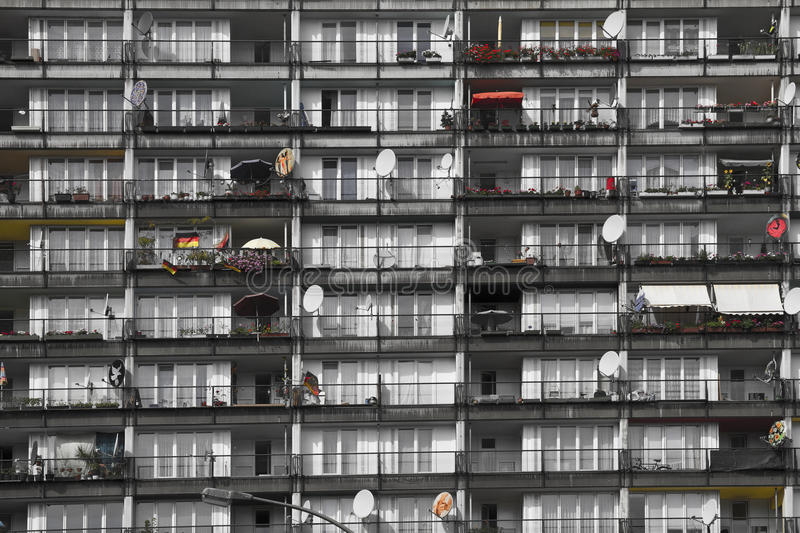 Social housing. Building of socially deprived people living inside stock photos