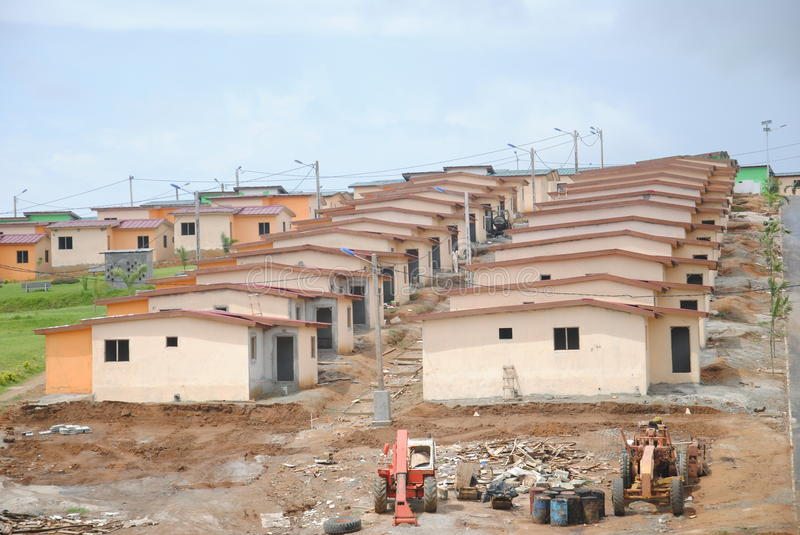 Social housing in Africa. Beautiful distant views of social housing reduces cost to Africa to facilitate the homes of people optention to have a roof royalty free stock photo