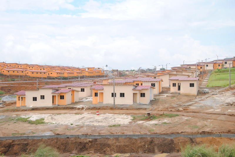 Social housing in Africa. Beautiful distant views of social housing reduces cost to Africa to facilitate the homes of people optention to have a roof stock image