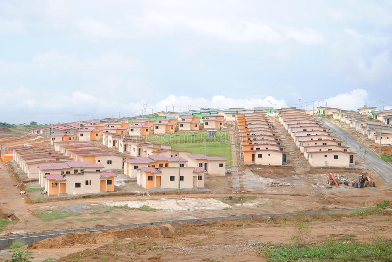 Social housing in Africa. Beautiful distant views of social housing reduces cost to Africa to facilitate the homes of people optention to have a roof royalty free stock image