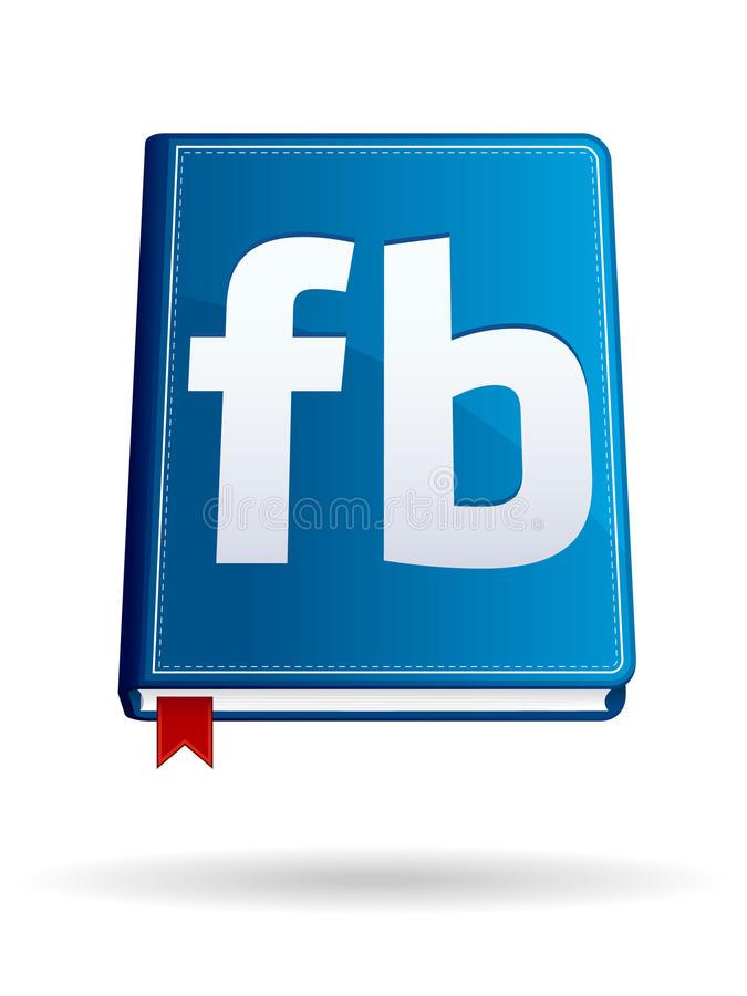 Social Icon EPS. A shiny blue book icon with red bookmark. Shadow on separate layer