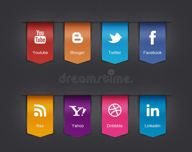 Social icons set. An illustrated set of 8 large social icons set , facebook, twitter and other industries vector illustration